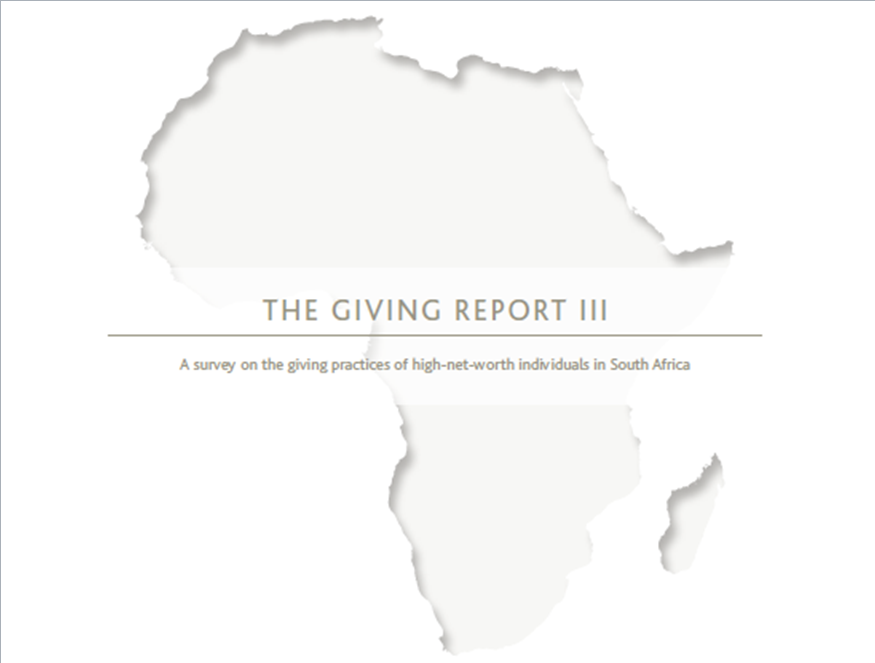 The Giving Report III: A survey on the giving practices of high-net-worth individuals in South Africa